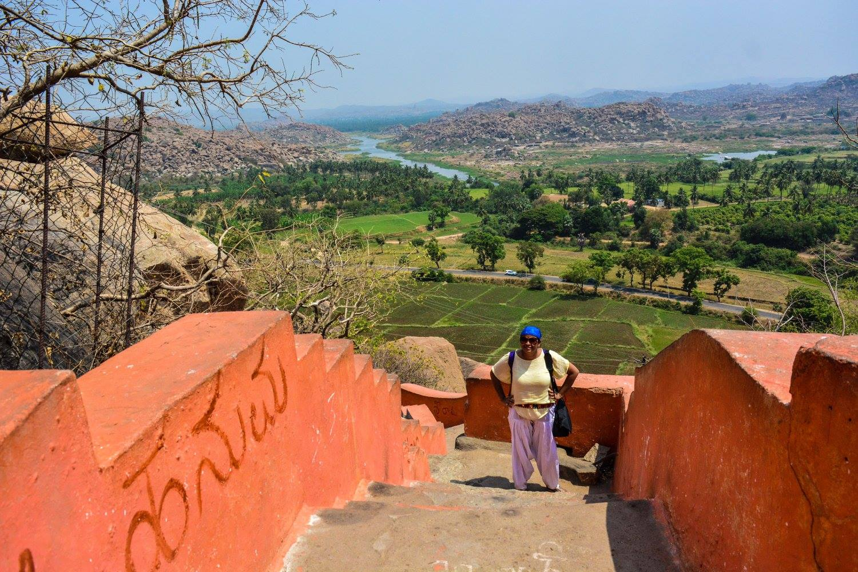 Climbing 600 stairs to Anjaneya Hill