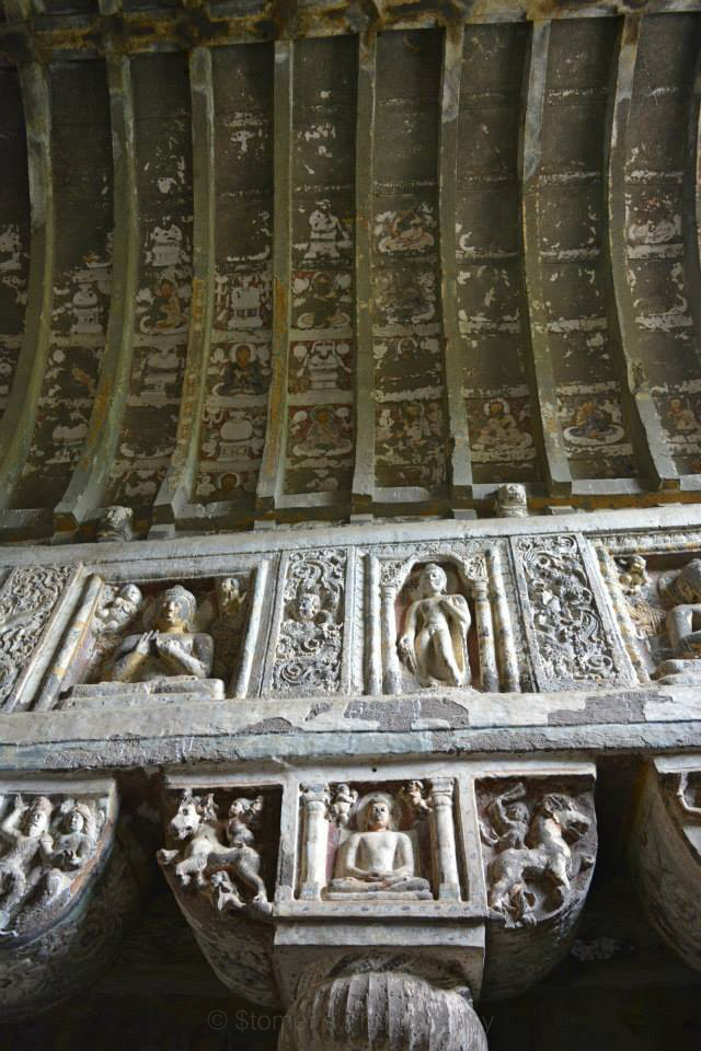 Painted Wooden Structures on the Ceiling in Ajanta Caves