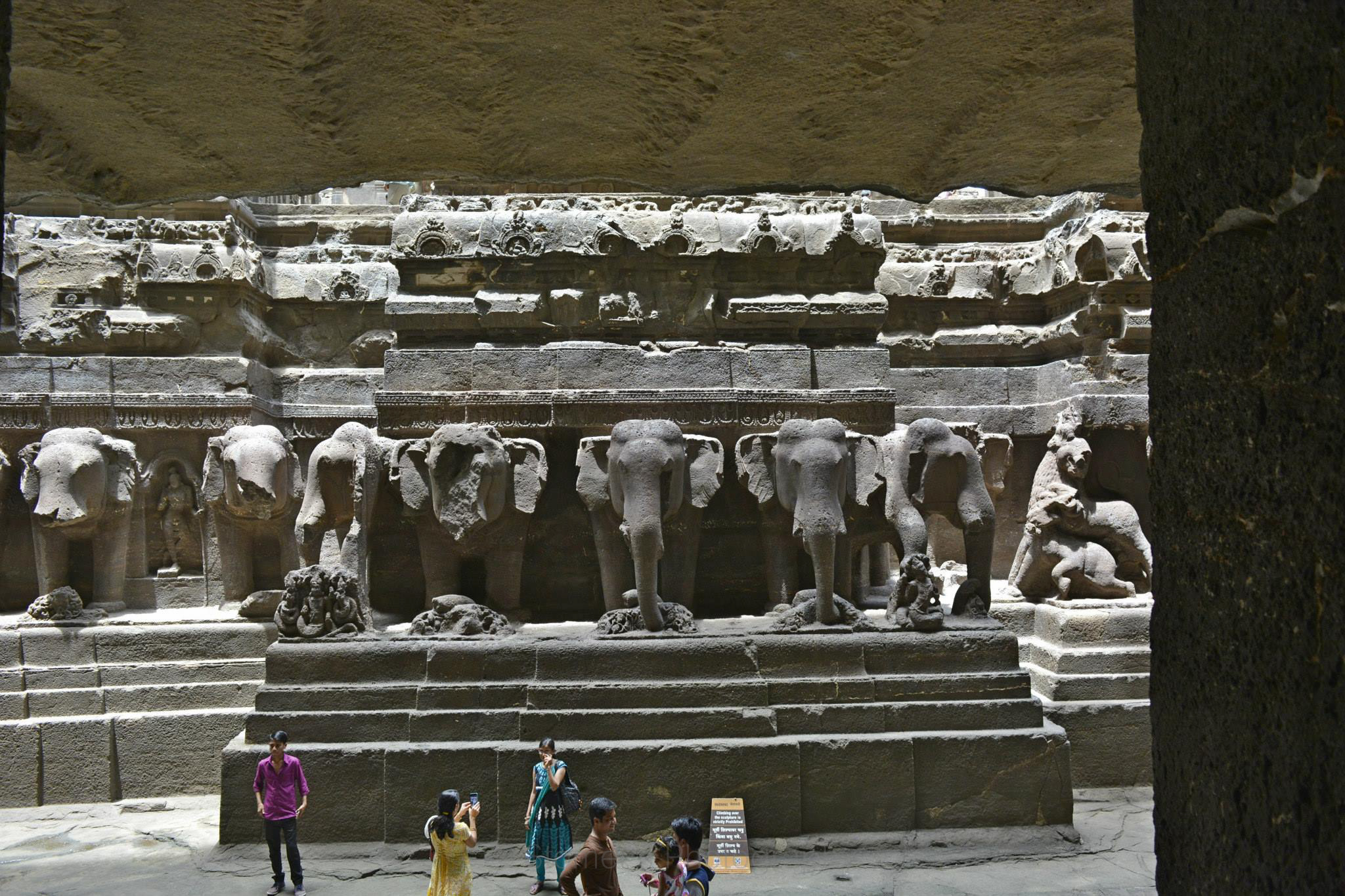 Life Size Sculpture of Elephants In Kailash Temple