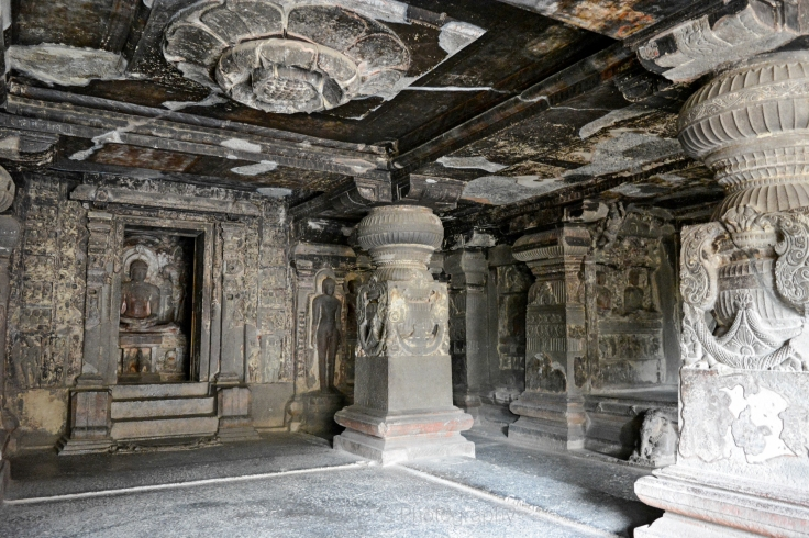 Immaculate Paintings on Roof,Pillars and Walls In Ellora Caves