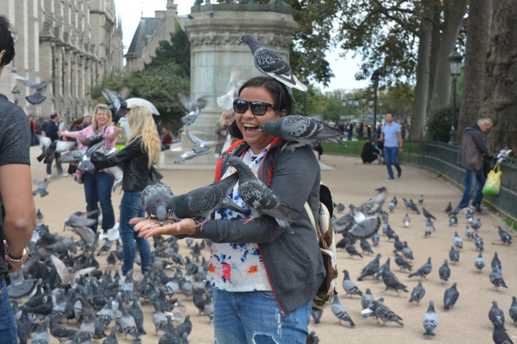 Feeding Pigeons Outside Notre Dame Cathedral