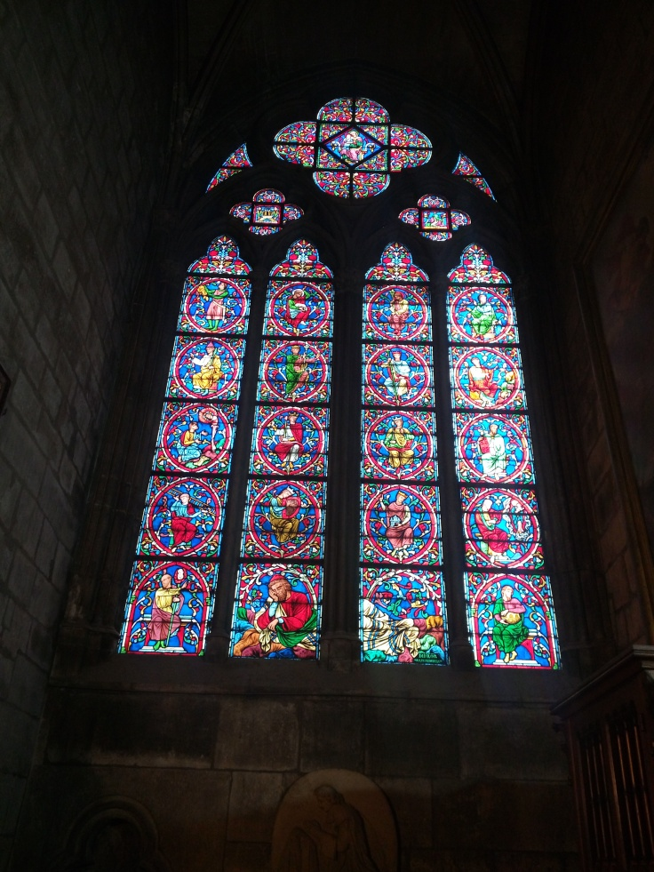 Stained Glass inside Notre Dame Paris