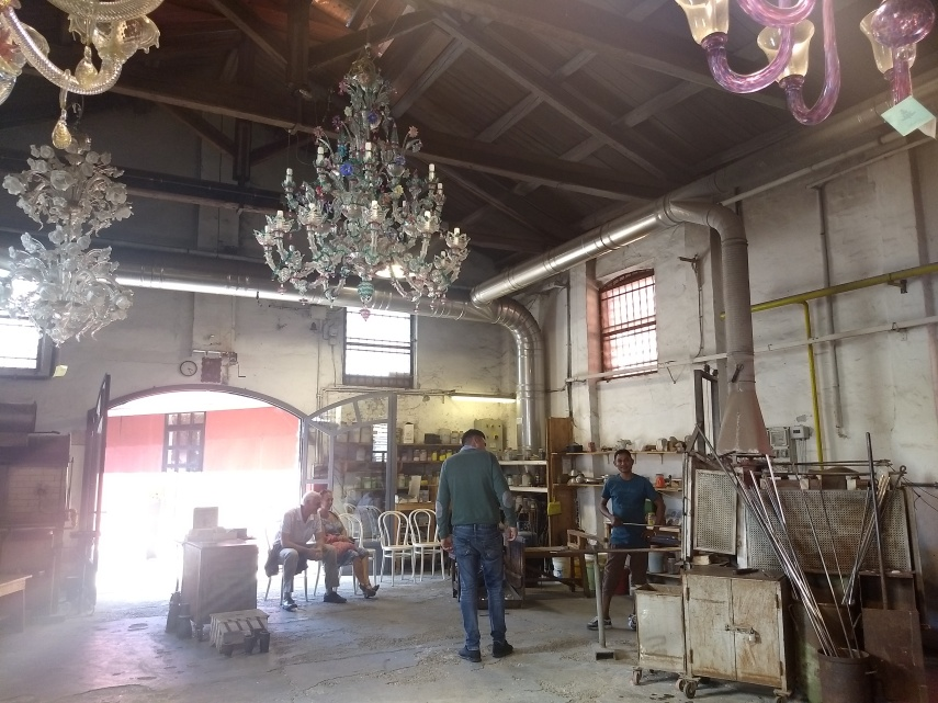 Hanging Chandeliers in Glass Factory