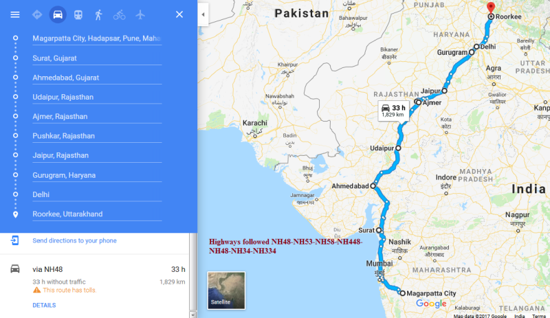 Highways followed Pune to Delhi roadtrip