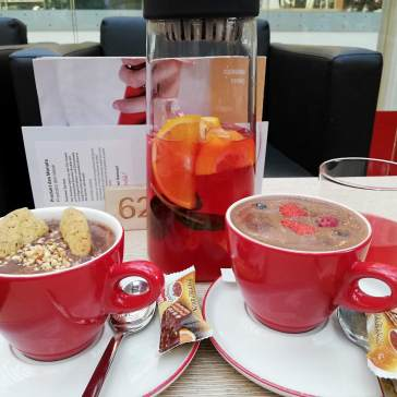 Hot Chocolate with Cookies and Fruits