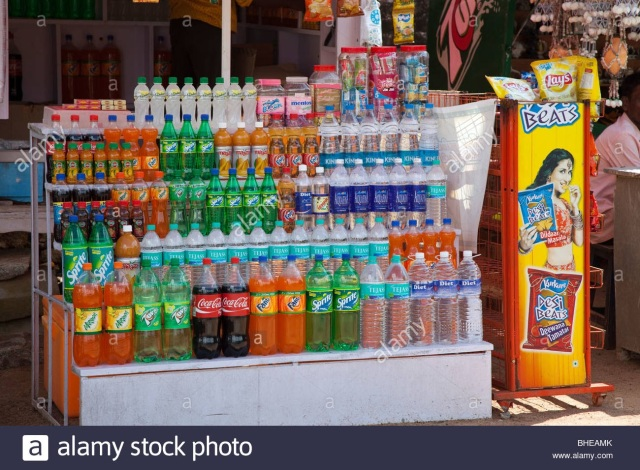 Single used plastic bottles in shops